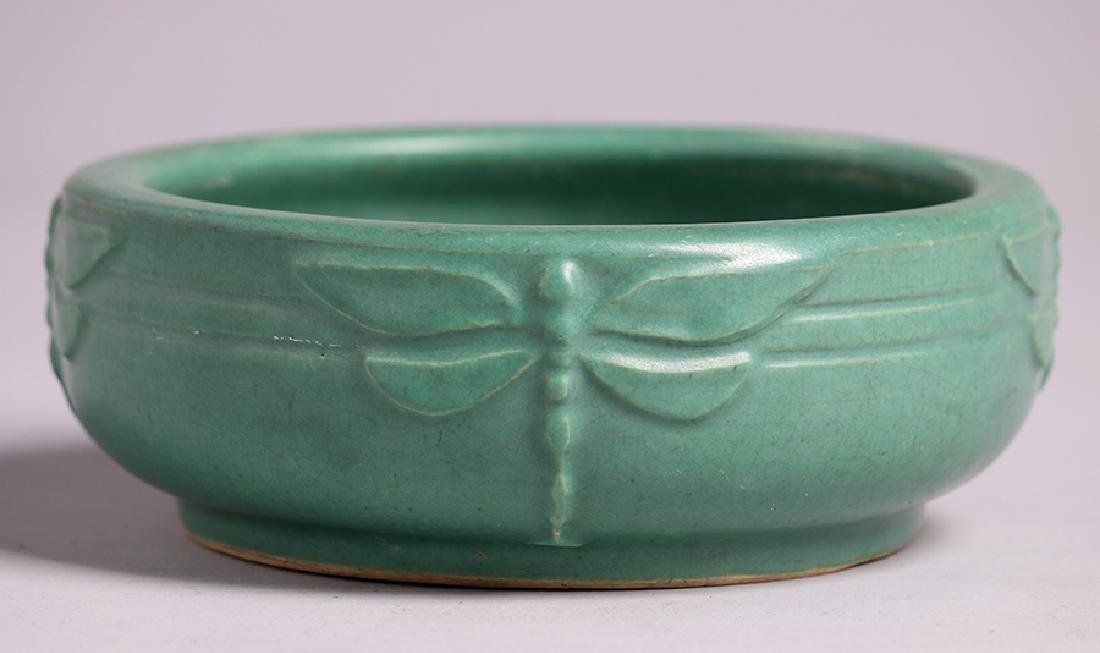 Arts & Crafts Matte Green Dragonfly Bowl - 2