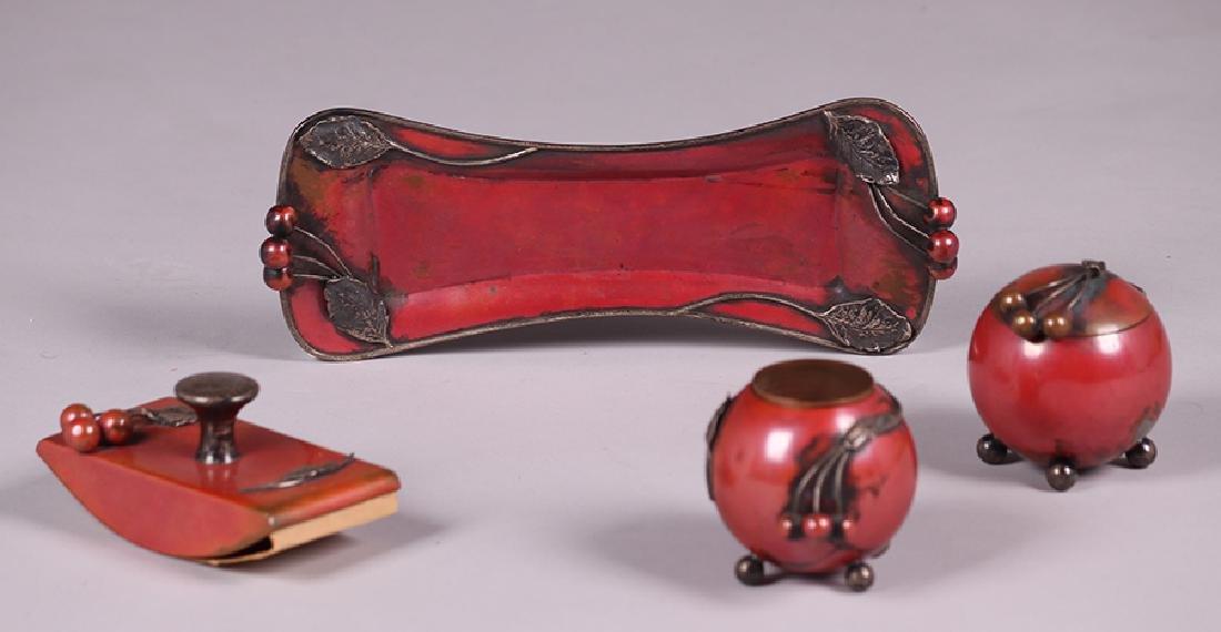 La Pierre Copper & Silver Desk Set c1905