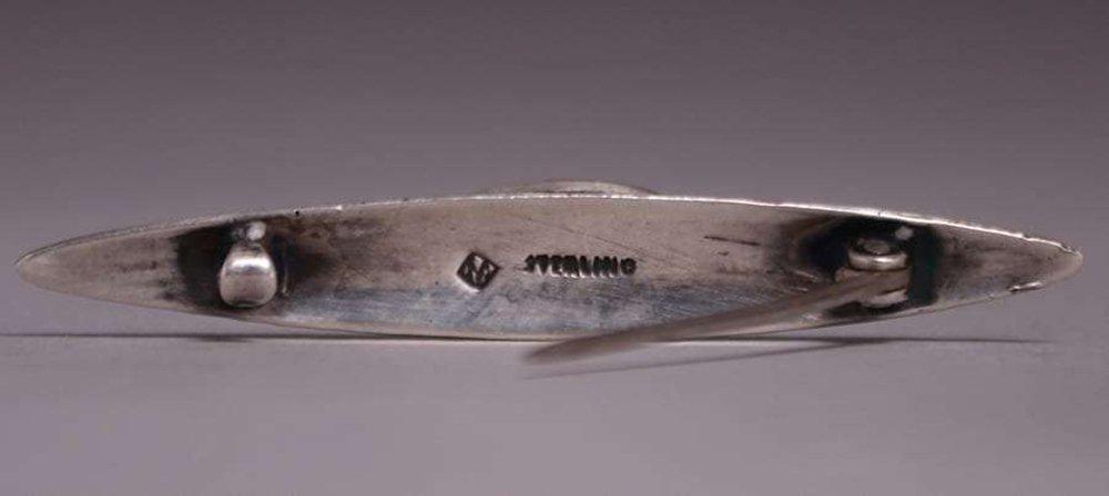 Chicago Arts & Crafts Sterling Silver Jade Brooch c1910 - 2
