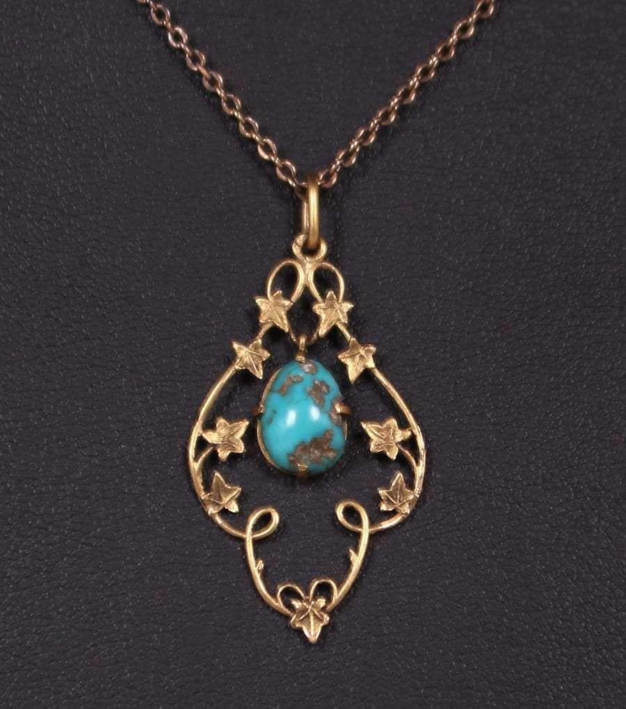 A&C 10k Gold Maple Leaf & Turquoise Pendant Necklace