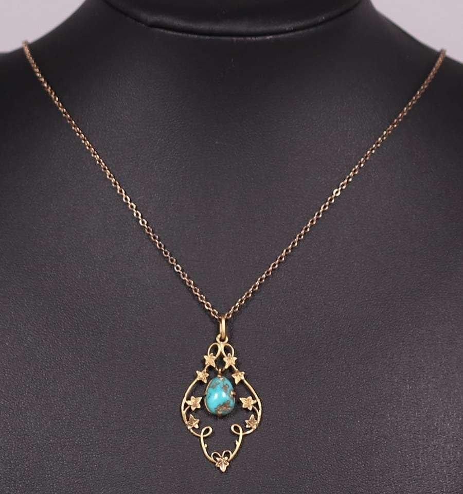 A&C 10k Gold Maple Leaf & Turquoise Pendant Necklace - 2
