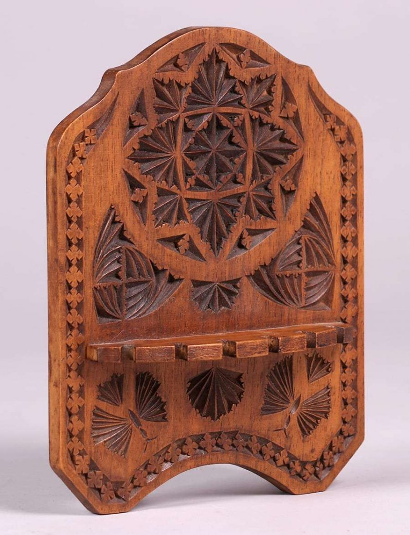 Arts & Crafts Gothic Hand-Carved Pipe Rack c1900