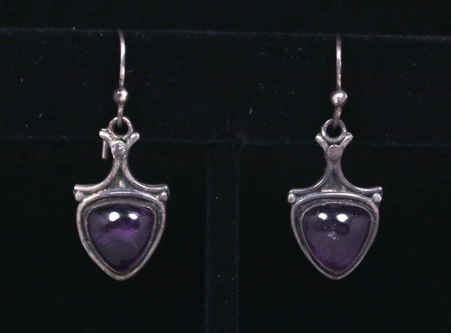 Arts & Crafts Sterling Silver & Amethyst Earrings c1910