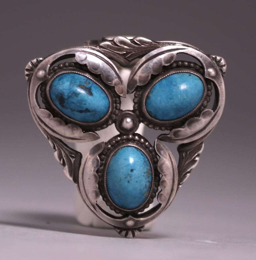 Arts & Crafts Silver Triple Turquoise Lapel Brooch 1910
