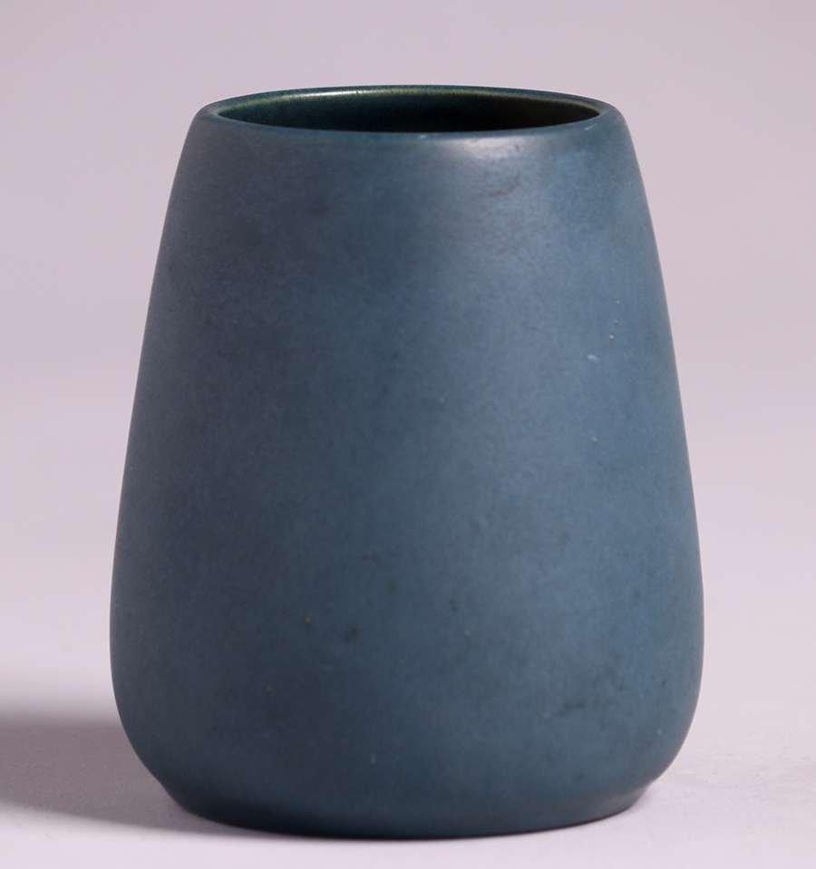 California Faience Dark Matte Blue Vase c1915-1920