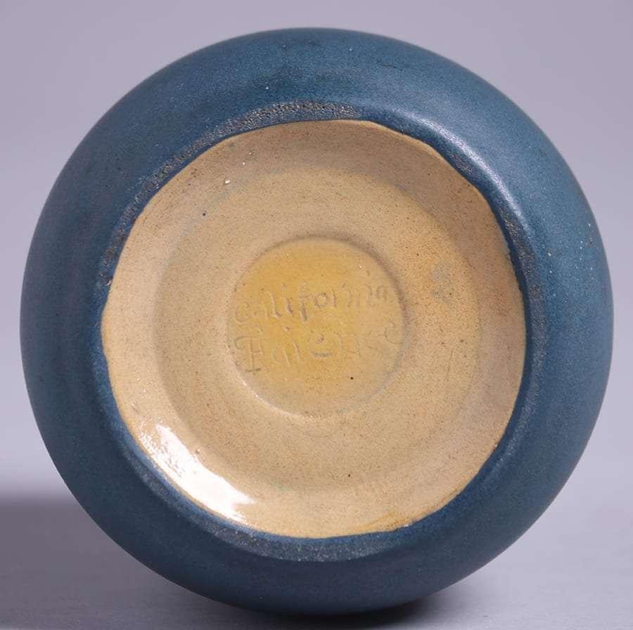 California Faience Dark Matte Blue Vase c1915-1920 - 2