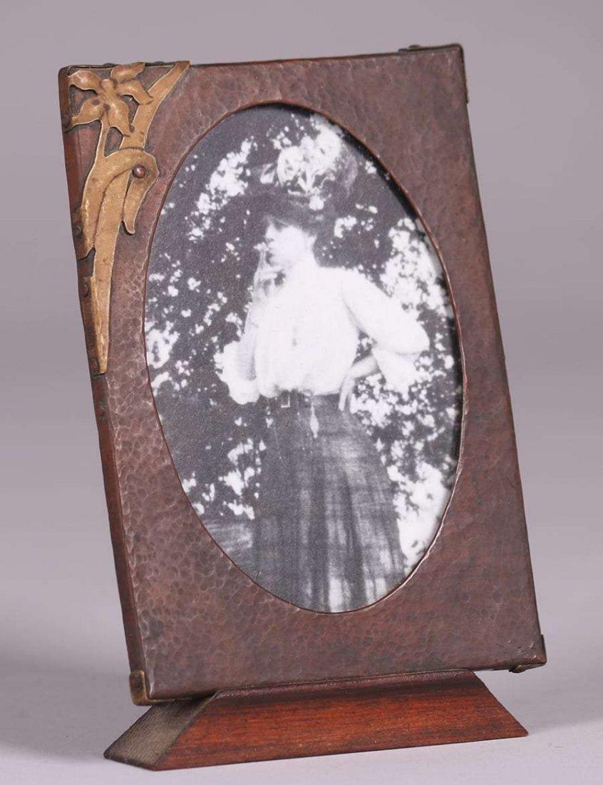 Arts & Crafts Hammered Copper & Brass Picture Frame