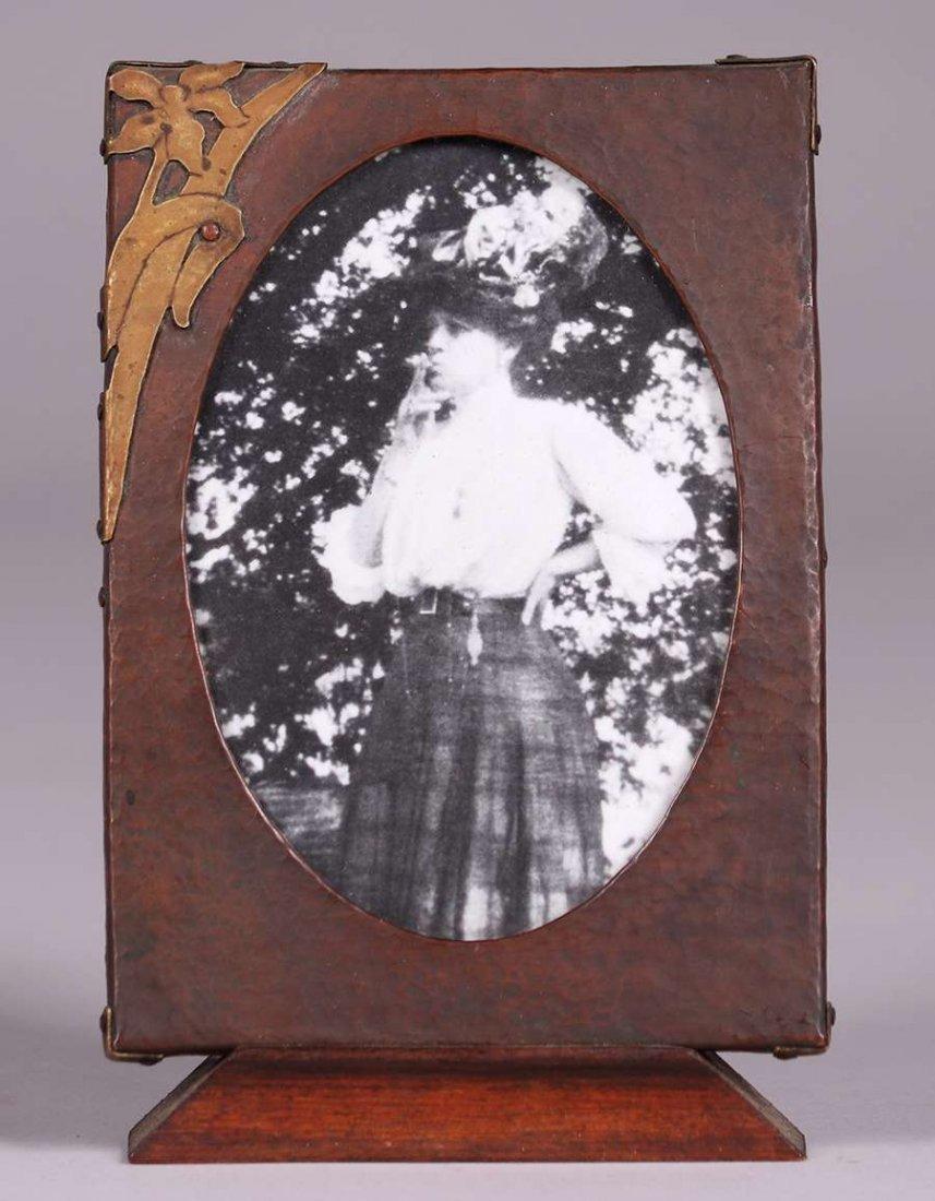 Arts & Crafts Hammered Copper & Brass Picture Frame - 3