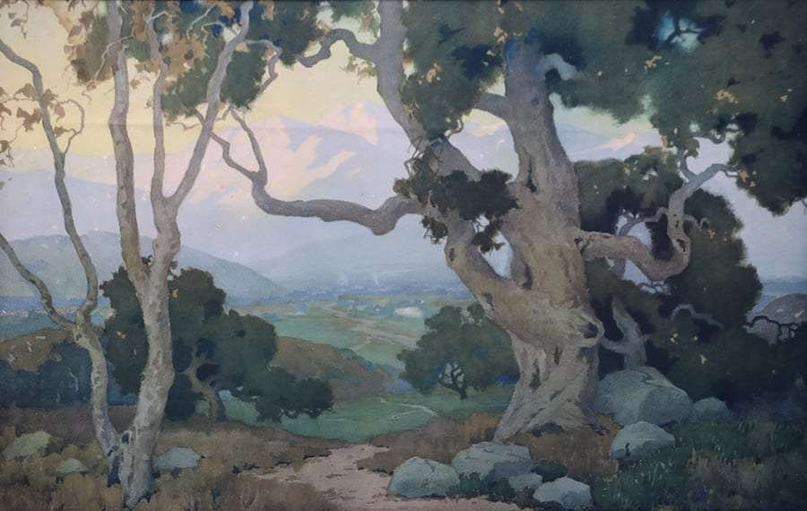 """Large Marion Wachtel Print """"The Oaks"""" c1917"""