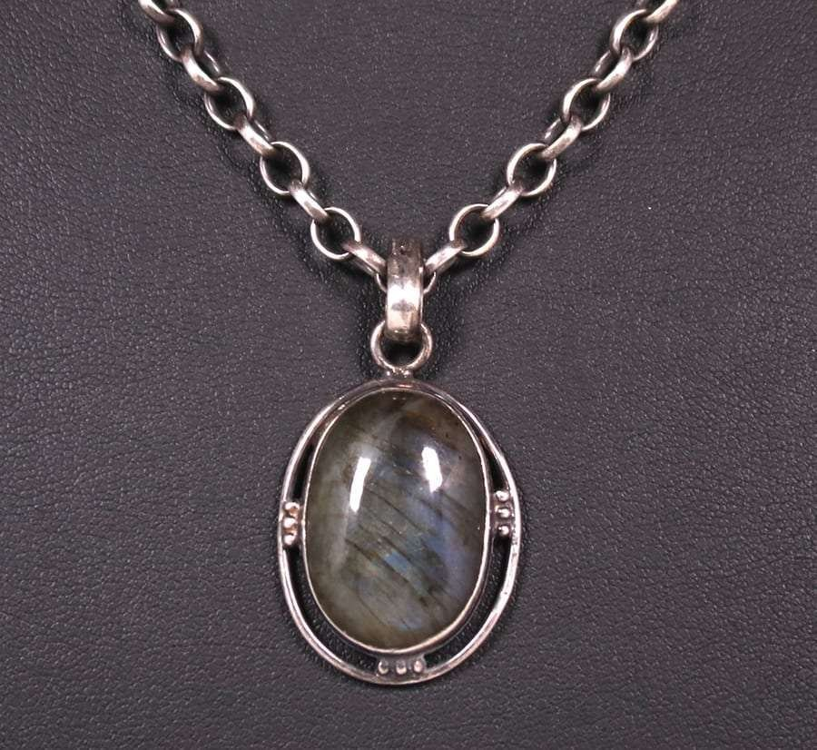 Arts & Crafts Sterling Moss Agate Pendant Necklace
