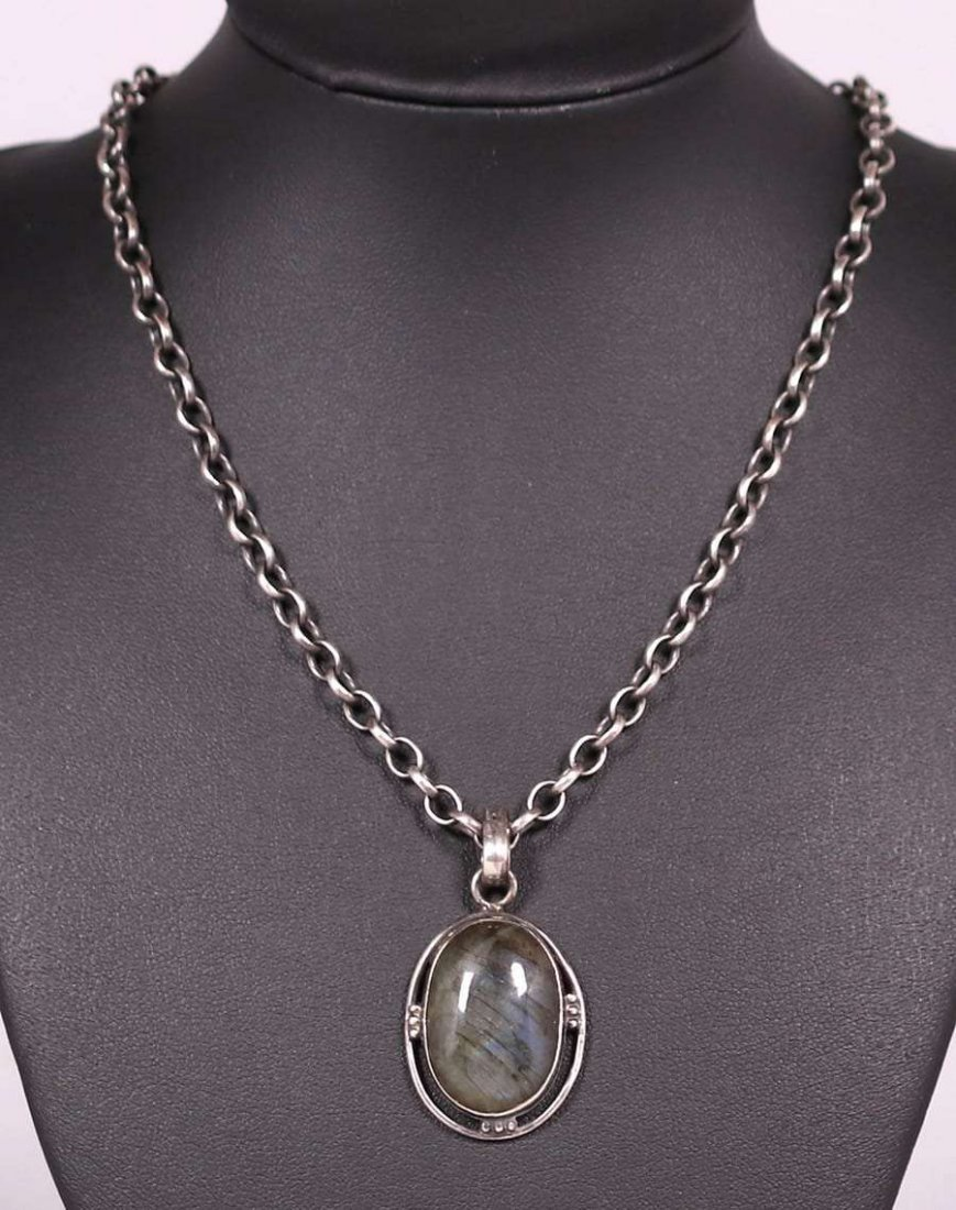 Arts & Crafts Sterling Moss Agate Pendant Necklace - 2