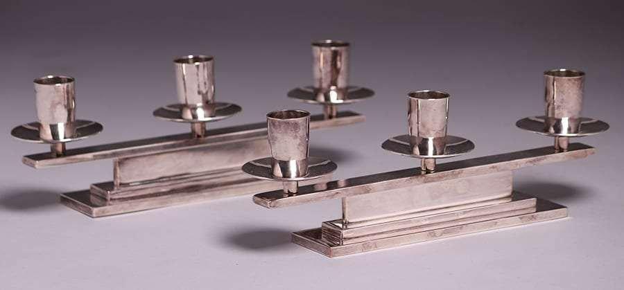 Dirk van Erp Modernist Silver-Plated Candelabras