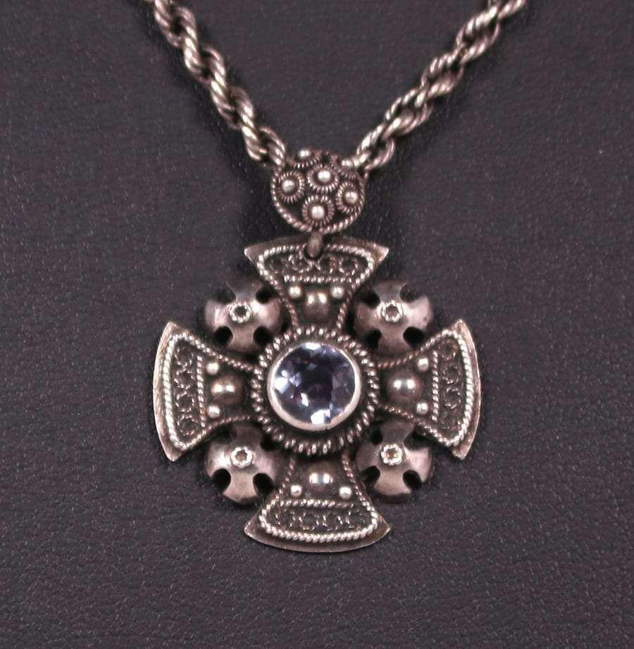 A&C Sterling Celtic Cross Amethyst Pendant Necklace
