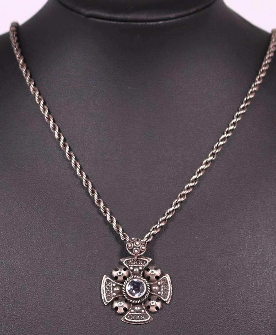 A&C Sterling Celtic Cross Amethyst Pendant Necklace - 2
