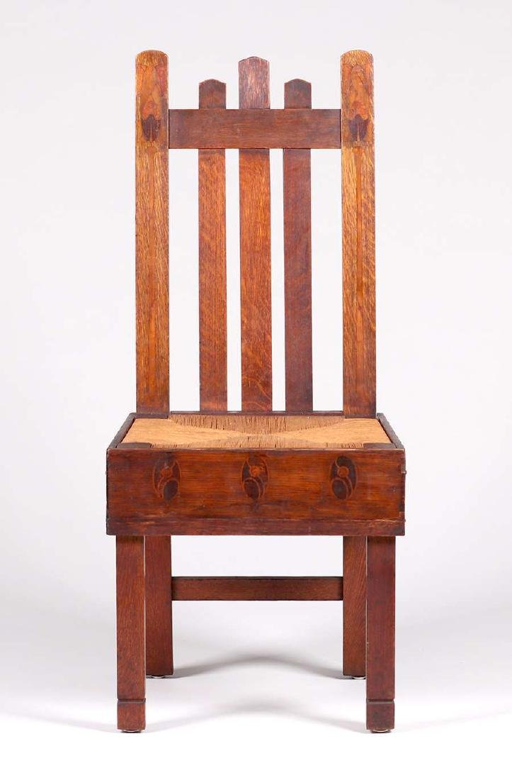 Early Stickley Brothers Inlaid Hall Chair c1901