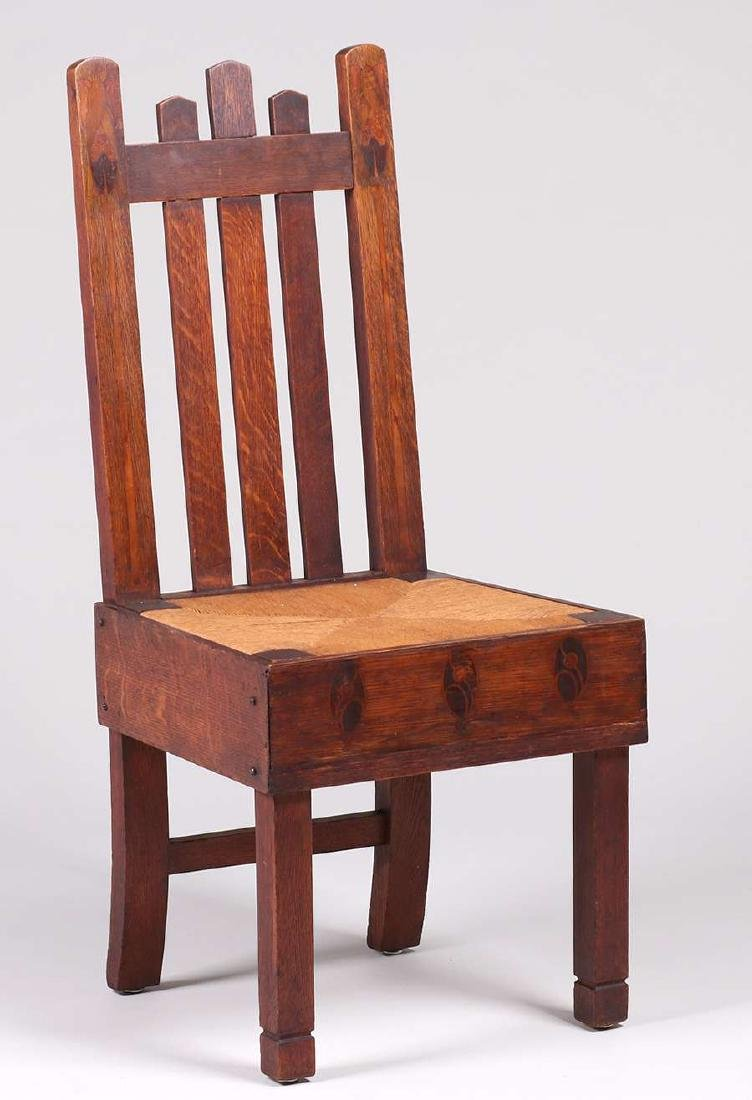 Early Stickley Brothers Inlaid Hall Chair c1901 - 2