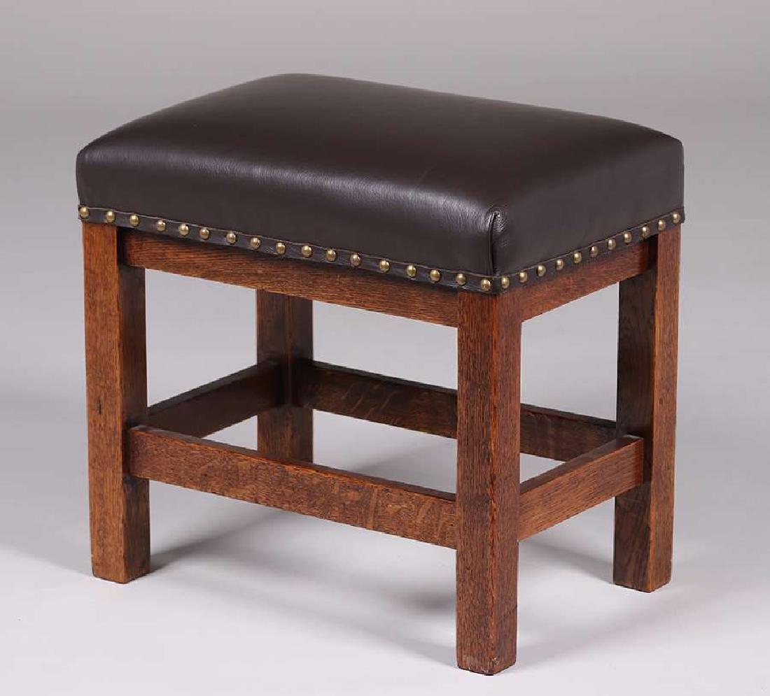 Arts & Crafts Tall Oak Footstool c1910