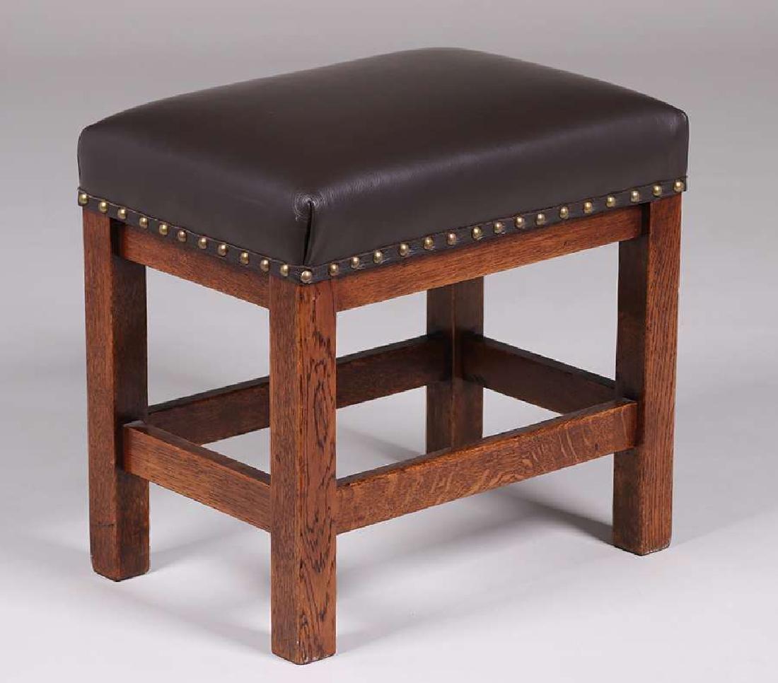 Arts & Crafts Tall Oak Footstool c1910 - 2