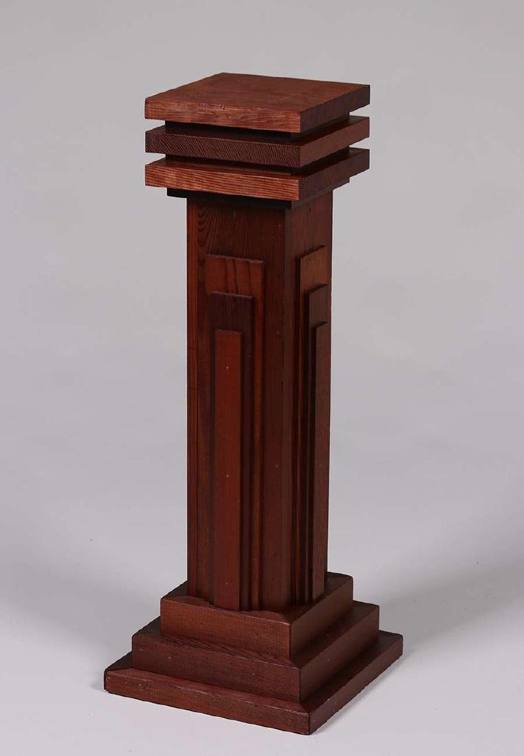 California Arts & Crafts Redwood Square Pedestal c1910