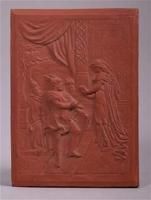 Arts & Crafts Red Bisque Tile c1906