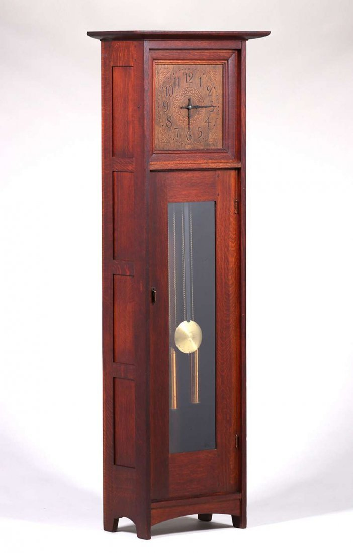 L&JG Stickley Grandfather Clock c1910
