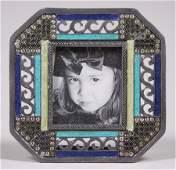 French Art Deco Enameled Pewter Frame c1920s