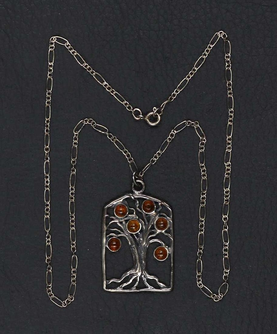 Tree-of-Life Silver & Amber Pendant Necklace c1905