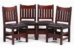 Set of 4 Gustav Stickley V-Back Dining Chairs