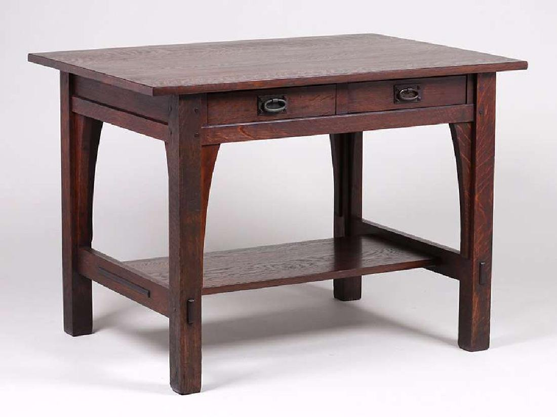 Gustav Stickley Two-Drawer Library Table c1910