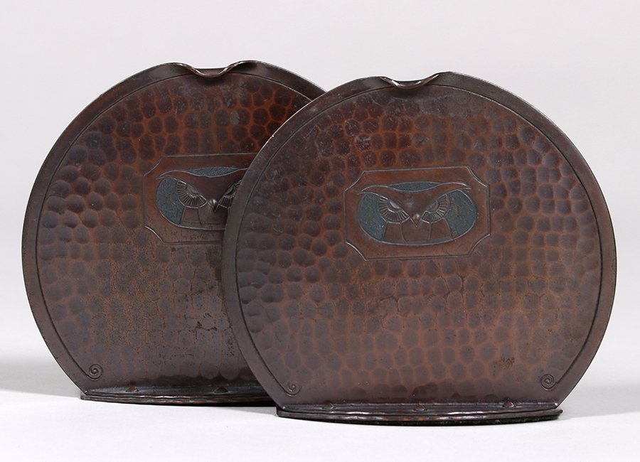 Roycroft Hammered Copper Owl Bookends