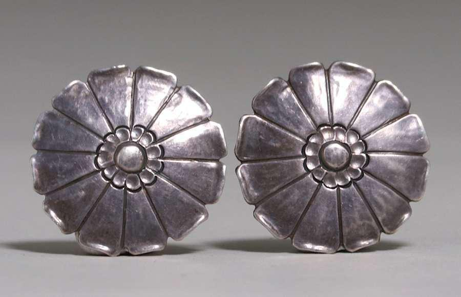 Pair Walter Jennings, Roycroft Hand-Hammered Earrings
