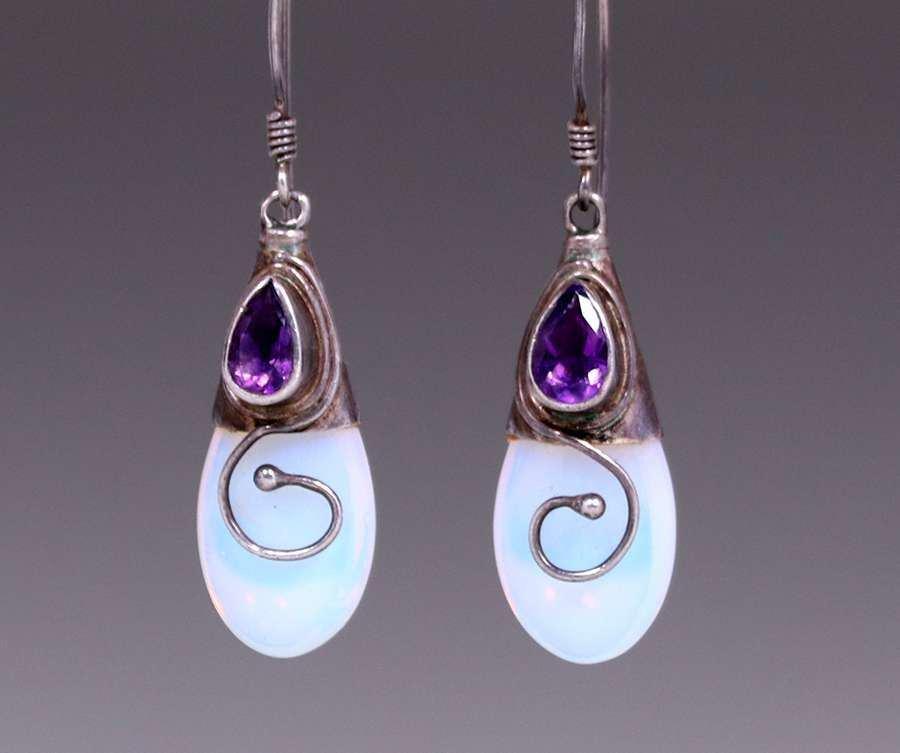 English A&C Silver, Amethyst & Clear Glass Opal