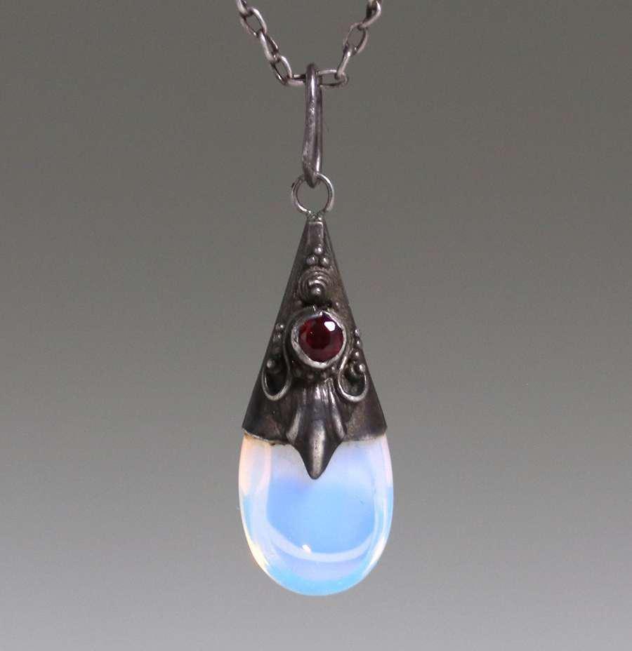 English Arts & Crafts Silver, Garnet & Clear Opal Glass