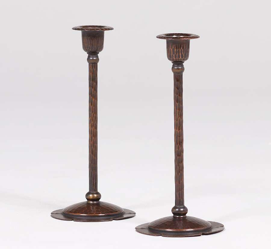 "Roycroft Hammered Copper 8"" Candlesticks"