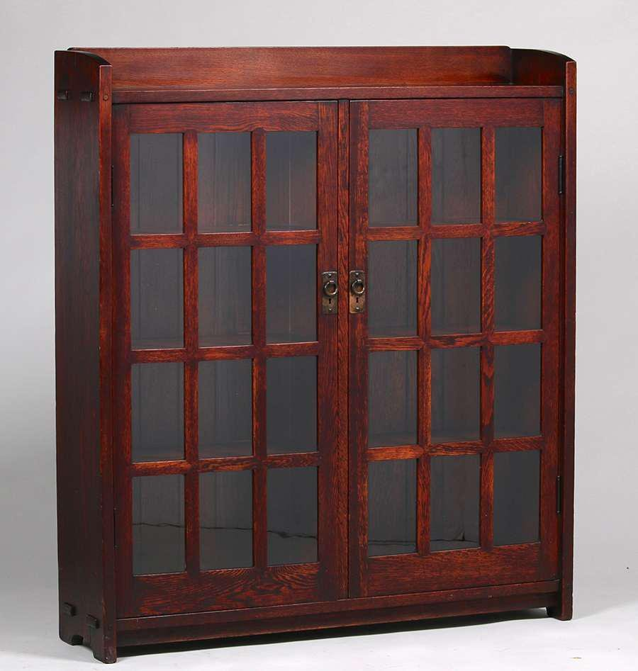Early Gustav Stickley Mitered-Mullion Bookcase c1902