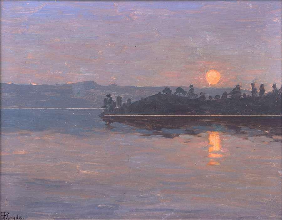 Peter Rohde Painting Moonlit Bay c1915