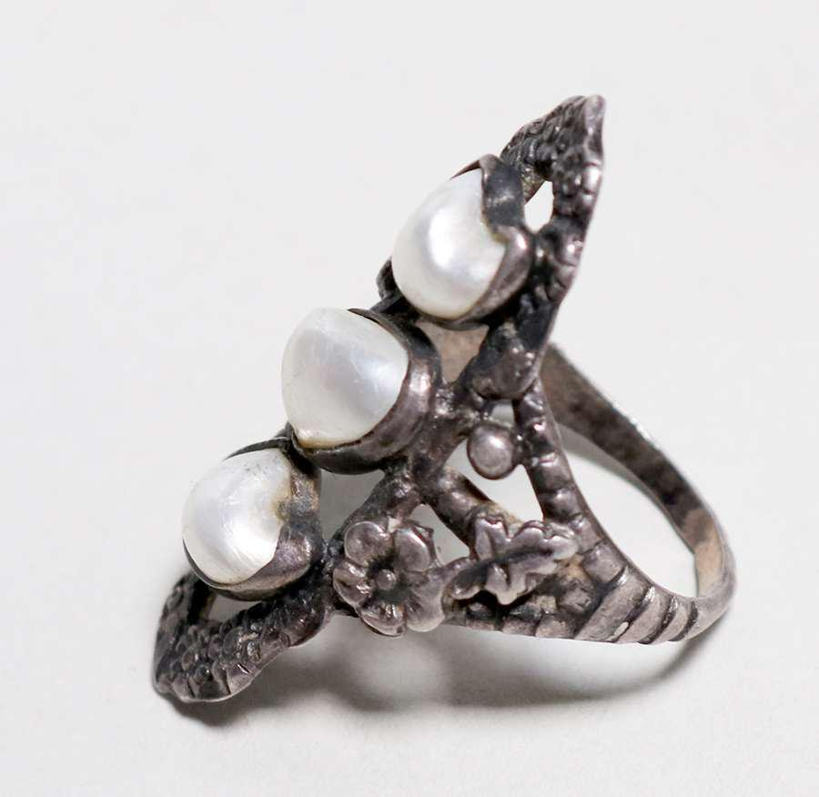 Boston Arts & Crafts Sterling Silver Pearl Ring c1910