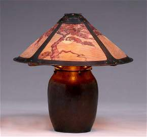 Rare Dirk van Erp Hammered Copper Lamp c1911-1912