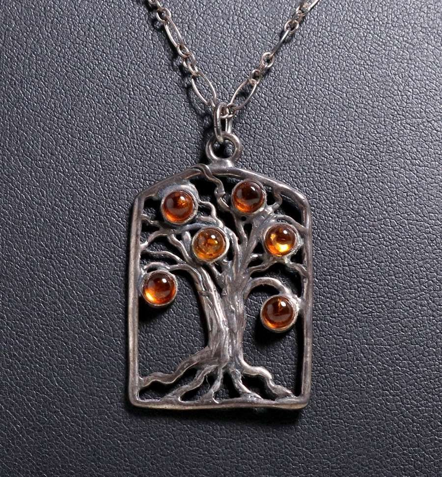 Tree-of-Life & Amber Pendant Necklace c1905