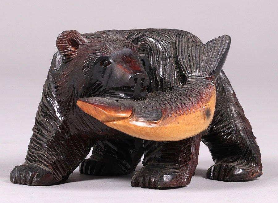 Japanese Arts & Crafts Hand Carved Bear from Hokkaido