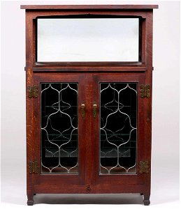 Extremely Rare Roycroft Leaded Glass Cabinet c1910