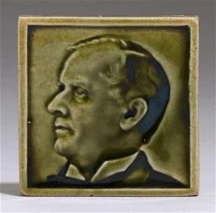 F.H.R. Los Angeles Celadon Green Portrait Tile c1910