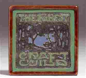 Rare Forest Craft Guild - Dirk van Erp Framed Tile