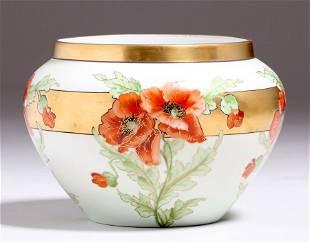 Arts Crafts Decorated Limoge Porcelain Vase c1910