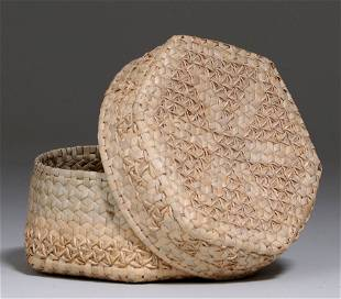 New England Native American Covered Basket c1950s