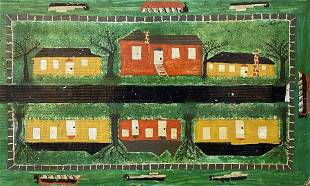 WPA Era American Folk Art Painting on Cardboard