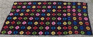American Folk Art MultiColored Handmade Weaving c1950s