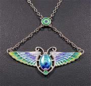 Charles Horner Sterling Silver & Enamel Scarab Necklace