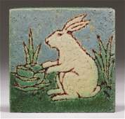 Grueby Pottery Bunny Tile c1910