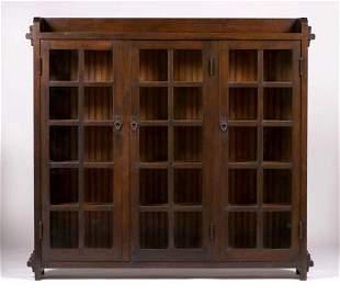 CA Arts & Crafts Douglas Fir Three-Door Bookcase